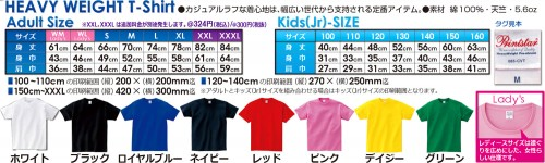 Tシャツのサイズと本体色